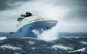 Wallpaper Sea, Rain, Storm, The ship, The shower, Maersk, Maersk Line, Ship, Vessel, AHTS, Maersk, Anchor ...
