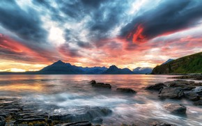 Picture sea, the sky, clouds, mountains, coast