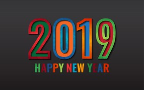 Picture colorful, New Year, figures, black background, black, background, New Year, Happy, 2019