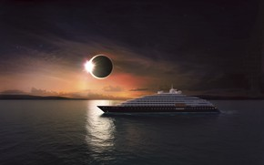 Picture The sun, The ocean, Sea, Yacht, The ship, Eclipse, Eclipse, Rendering, Suite, Scenic Eclipse, Luxury …