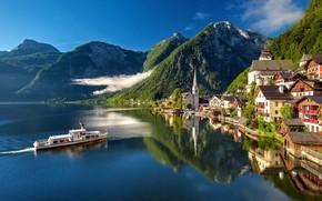 Picture clouds, mountains, the city, lake, reflection, ship, home, Austria, Hallstatt, Hallstatt, Hallstatt, community
