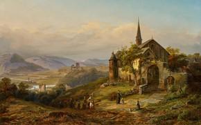 Picture German painter, German painter, oil on canvas, Peter Joseph Minjon, Romantic Rhine Landscape, Romantic Rhine …