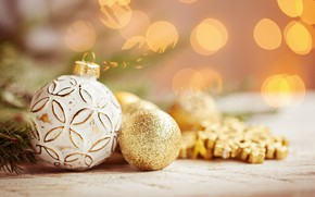 Picture balls, snowflakes, gold, holiday, New year, decor