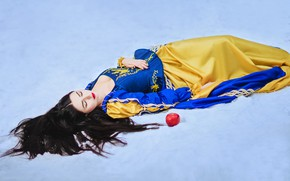 Picture winter, girl, snow, pose, Apple, sleep, tale, dress, brunette, beauty, sleeping, the snow, lies, image, …