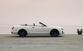 Picture white, shore, Bentley, convertible, 2010, in profile, Continental Supersports Convertible