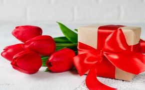 Picture love, gift, bouquet, tape, tulips, red, red, love, heart, flowers, romantic, tulips, valentine's day, gift ...