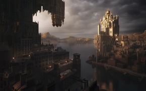Picture The city, River, Building, City, Fantasy, Landscape, Architecture, River, Fiction, Concept Art, Environments, Kitbash3d, by …