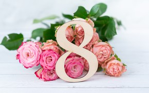 Picture holiday, roses, bouquet, congratulations, 8-Mar