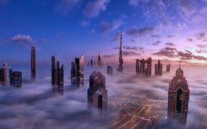 Picture clouds, sunset, heaven, road, home, The city, skyscrapers
