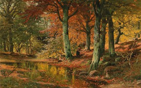 Picture Alois Arnegger, Austrian painter, Austrian painter, oil on canvas, Alois Arnegger, Woodland Landscape in Autumn, …