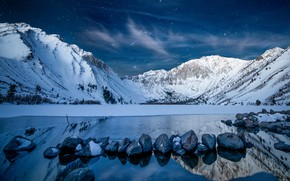 Picture winter, the sky, stars, snow, mountains, night, lake, stones, shore, twilight, pond