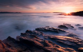 Picture sea, the sky, the sun, clouds, rays, sunset, stones, dawn, shore, Spain, rocky, stone ridge