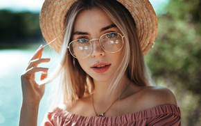 Picture portrait, look, hand, face, Ruslan Kid, girl, glasses, hat
