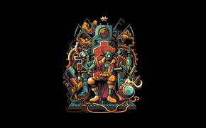 Picture Fantasy, Art, Robot, Vector, Background, Illustration, Crown, Minimalism, King, Throne, Cyberpunk, Mecha, Angga Tantama, The …