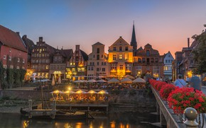 Picture flowers, bridge, river, building, home, Germany, cafe, promenade, Germany, Luneburg, Lüneburg, The River Ilmenau, Ilmenau …