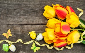 Picture flowers, eggs, colorful, Easter, tulips, happy, yellow, wood, flowers, tulips, Easter, purple, eggs, decoration