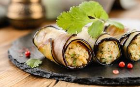 Picture eggplant, filling, appetizer, rolls