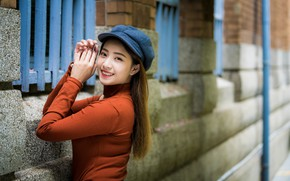 Picture look, girl, smile, sweetheart, cap, Asian