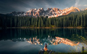 Picture girl, landscape, mountains, nature, lake, reflection, stones, Italy, forest, Bank, The Dolomites