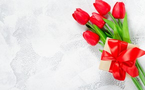 Picture love, flowers, gift, bouquet, tape, hearts, tulips, red, red, love, flowers, romantic, hearts, tulips, valentine's ...
