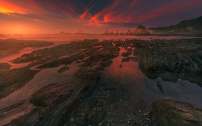 Picture sea, the sky, clouds, line, sunset, mountains, red, stones, rocks, color, rich, the evening, rocky …