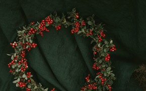 Picture leaves, berries, red, fabric, material, wreath, bunches, cranberries