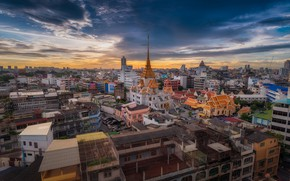 Picture the sky, the city, building, home, morning, Thailand, temple, Thailand, Bangkok