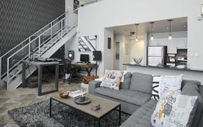 Picture design, style, interior, kitchen, ladder, living room, 3sixty space planning design, Live-Work-Play Loft, +студия, by …