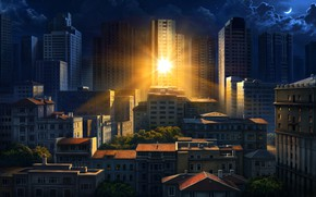Picture the sun, the city, reflection, morning, art, Olga Antonenko, Illustration for Philips Hue Go Ilan …
