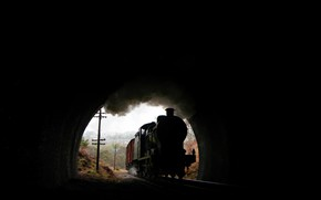 Picture background, train, the tunnel