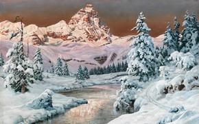 Picture Alois Arnegger, Austrian painter, Austrian landscape painter, oil on canvas, Alois Arnegger, Mountain range in …