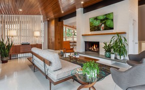 Picture interior, fireplace, retro style, living room, Mid-century modern