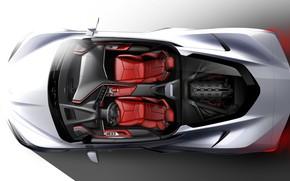 Picture Design, Figure, Corvette, Chevrolet, Sketch, Stingray, 2020, Chevrolet Corvette ( C8 ) Stingray