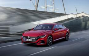 Picture red, Volkswagen, in motion, R-Line, liftback, 2020, Arteon