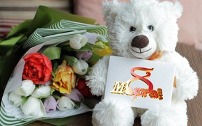 Picture tulips, colorful, wrapping paper, March 8, Teddy bear, white bear, the bouquet on the table