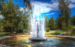 Picture summer, the sky, clouds, trees, nature, Park, fountain, benches, Bulgaria