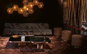 Picture room, interior, bar, lighting, sofa, living room