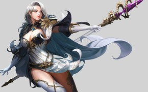 Picture girl, background, spear