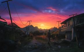 Picture Sunset, The sun, Home, Mountains, Dog, People, Dawn, Apocalypse, Dog, Sun, Sunset, Fiction, Dawn, Apocalypse, …