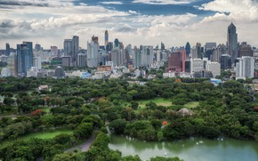 Picture trees, the city, Thailand, Bangkok, Thailand, lake, Bangkok