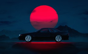 Picture Auto, Machine, Nissan, Car, Star, Black, Sun, Night, Skyline, Gran Turismo 6, Synthwave, New Retro …