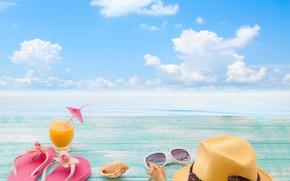 Picture sea, the sky, the sun, clouds, landscape, glass, umbrella, hat, juice, glasses, cocktail, shell, bokeh, …