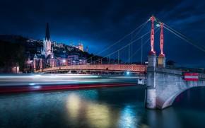 Picture bridge, lights, river, France, Lyon