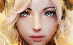 Picture Girl, art, blue eyes, lips, blonde, digital art, artwork, mouth