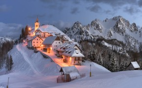 Picture winter, snow, landscape, mountains, nature, home, the evening, lighting, Italy, Монте-Луссари