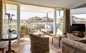 Picture interior, terrace, living room, Rome, Living room and a terrace