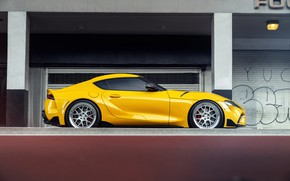 Picture yellow, sports car, side view, Toyota Supra, 2020 Toyota GR Above