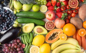 Picture fruits, variety, cut fruits