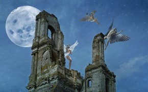 Picture castle, the moon, angels, photoart