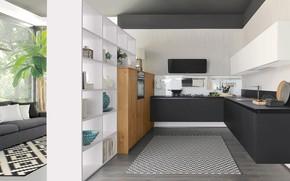 Picture design, interior, kitchen, sofa, living room